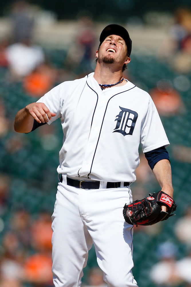 May 25, 2014; Detroit, MI, USA; Detroit Tigers relief pitcher Joe Nathan (36) reacts during the ninth inning against the Texas Rangers at Comerica Park. Texas won 12-4. Mandatory Credit: Rick Osentoski-USA TODAY Sports (Rick Osentoski/Rick Osentoski-USA TODAY Sports)