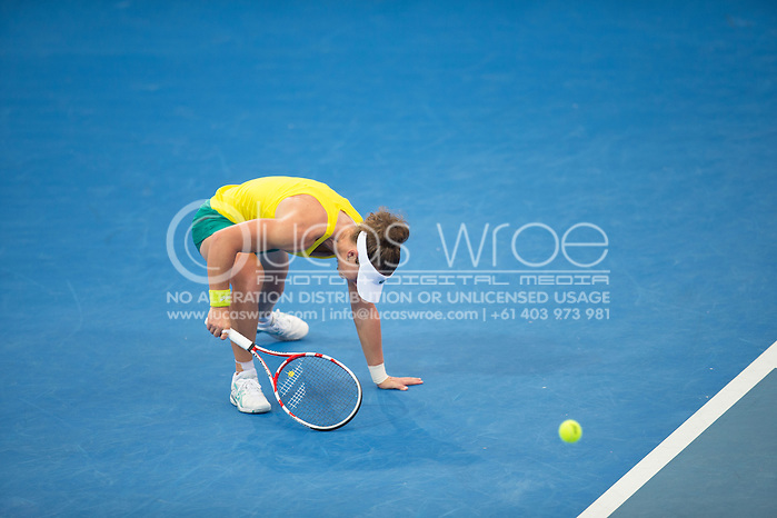 Samantha Stosur (AUS), April 20, 2014 - TENNIS : Fed Cup, Semi-Final, Australia v Germany. Pat Rafter Arena, Brisbane, Queensland, Australia. Credit: Lucas Wroe (Lucas Wroe)