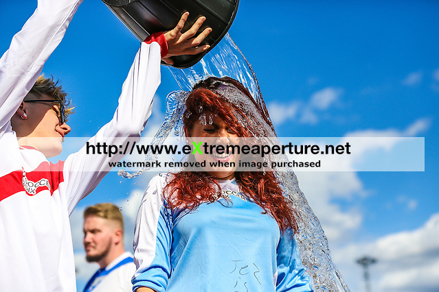 London, UK on Sunday 31st August, 2014. Jessica Steele undertaking the ALS Ice Bucket Challenge during the Soccer Six charity celebrity football tournament at Mile End Stadium, London. (David Horn/EAP)