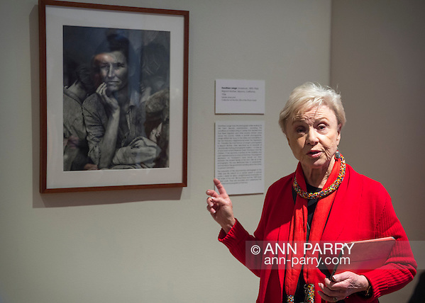 Roslyn Harbor, New York, USA, January 2, 2017. Docent MAXINE HERSH (in red top) leads visitors on tour of Nassau County Museum of Art photography exhibitions covering over 100 years of photography. (Ann Parry/Ann Parry, ann-parry.com)