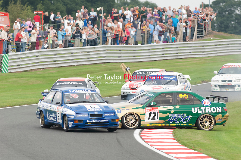 6 Smith/Harvey Ford Sierra RS500 and 121 Patrick Watts Peugeot 406