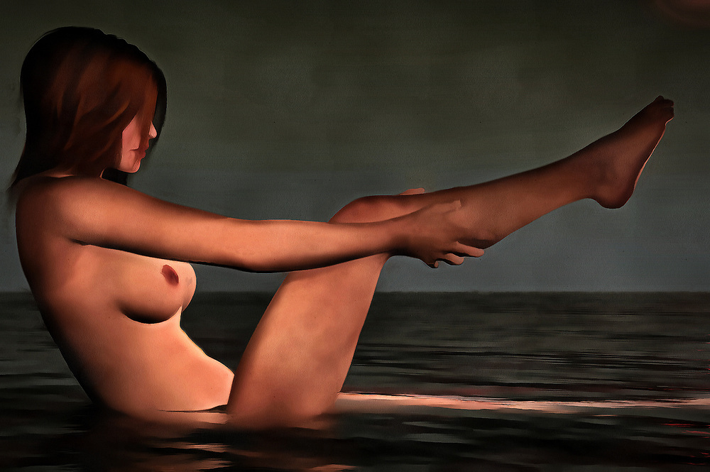 A young woman is taking a bath, but she is clearly not doing this inside a bathtub. She sits in a body of water. That is all we really know about the location. She is washing one of her legs. She does not seem to be in any significant hurry. We stare at her beautiful nude form. We watch her washing her legs. She doesn't seem to be aware of our presence. In this acryl on canvas piece, it could be said that she doesn't really care about our presence. This charming, mysterious piece is available in the form of beautiful wall art. (Jan Keteleer)