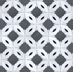 Sebastian (large), a natural stone waterjet mosaic shown in Dolomite, Bardiglio (h), Nero, and Afyon White, is designed by Sara Baldwin for New Ravenna Mosaics. (New Ravenna ®)
