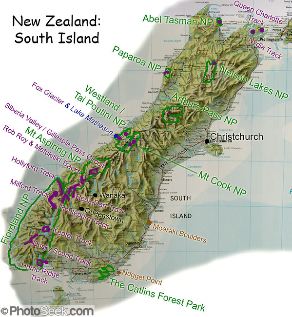 Favorite parks, tracks (trails), and sights are labelled on this small relief map of South Island, New Zealand. In 1990, UNESCO honored Te Wahipounamu � South West New Zealand as a World Heritage Area. (Tom Dempsey)
