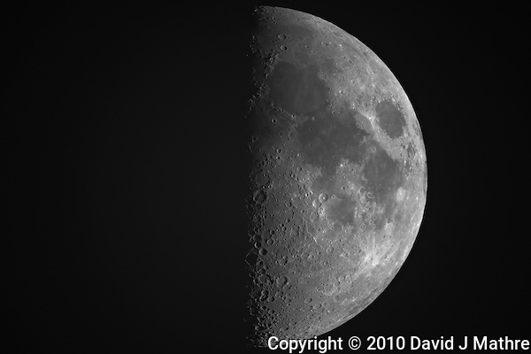 "First Quarter Moon from New Jersey. Image taken with a Nikon D3x and Questar 7"" Telescope (ISO 100, ~1600 mm, f/16, 1/50 sec) (David J Mathre)"