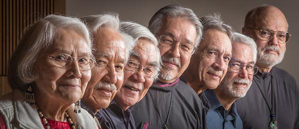 Alaska Artists: Dolores Churchill, Nathan Jackson, Ron Senungetuk, Larry Ahvakana, Alvin Amason, Perry Eaton, and Glen Simpson at the Anchorage Museum (Clark James Mishler)