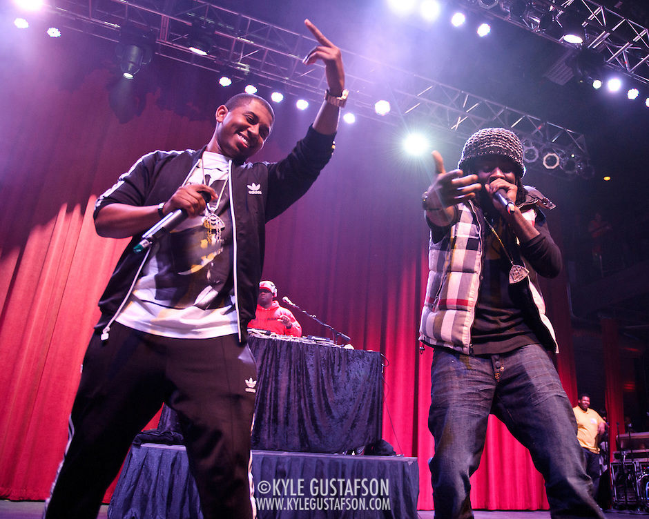 SILVER SPRING, MD - January 1st, 2012 - Rapper and D.C. native Wale (right) performs at the Fillmore Silver Spring in Silver Spring, MD with his hype man Tre and DJ 5'9. Wale released his sophomore album, Ambition, in November. (Photo by Kyle Gustafson/For The Washington Post). (Kyle Gustafson/FTWP)