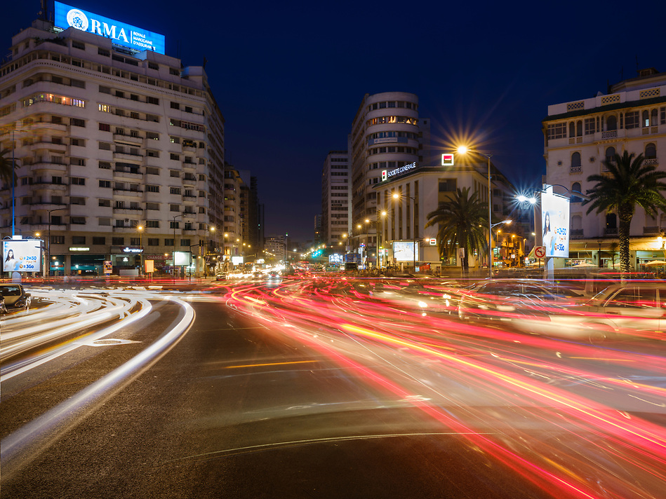 CASABLANCA, MOROCCO - CIRCA APRIL 2017: Avenue Des Far and Boulevard Hassan I in Casablanca at night. (Daniel Korzeniewski)
