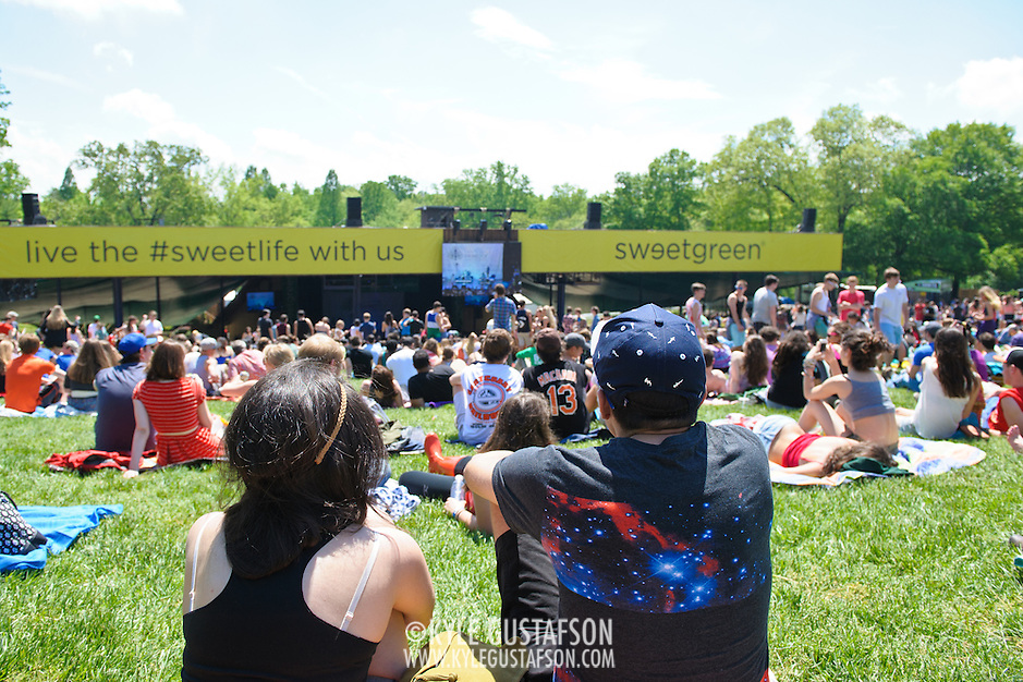 COLUMBIA, MD - May 11th, 2013 - Concert goers enjoy the sun from the top of the pavilion at the 2013 Sweetlife Food and Music Festival at Merriweather Post Pavilion in Columbia, MD. (Photo by Kyle Gustafson / For The Washington Post) (Kyle Gustafson/Photo by Kyle Gustafson)