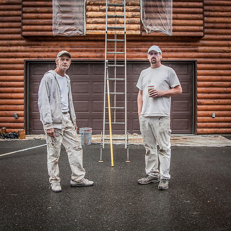 Painting contractor, Jeremy Cohen (right) with Ernie King as they prepare to work on a neighbor's home in South Addition, Anchorage (Clark James Mishler)