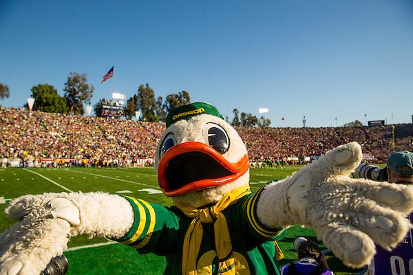 Oregon Duck mascot. Photographed at the 2015 Rose Bowl Game in Pasadena, California, on January 1, 2015. (Photograph ©2015 Darren Carroll) (Darren Carroll)