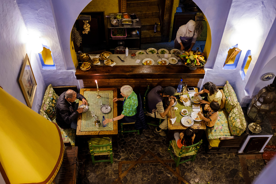 CHEFCHAOUEN, MOROCCO - CIRCA APRIL 2017: Interior of the restaurant Tissemlal in Chefchaouen. (Daniel Korzeniewski)
