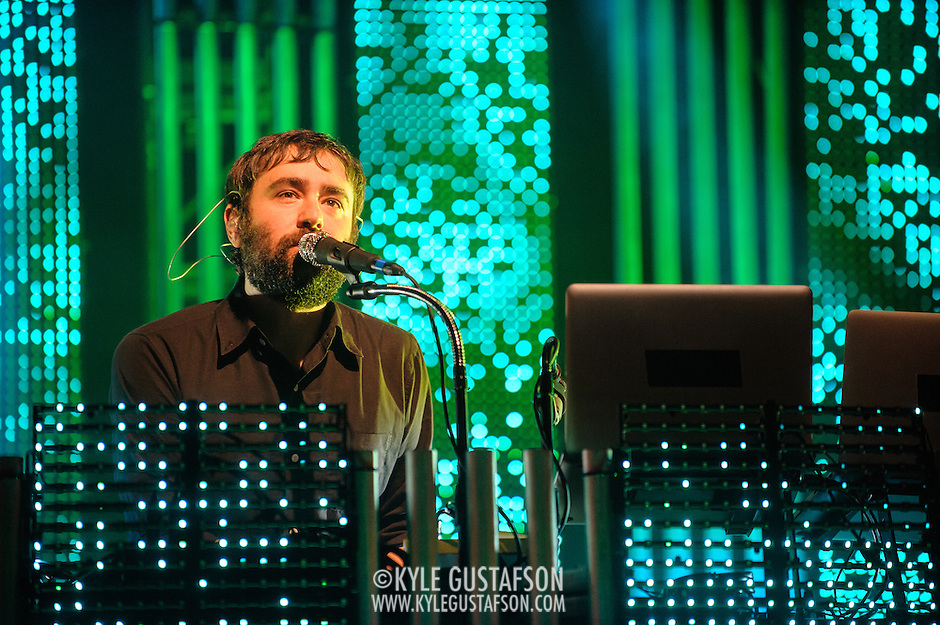 COLUMBIA, MD - June 18th, 2013 - Jimmy Tamborello of the Postal Service performs at Merriweather Post Pavilion in Columbia, MD on their 10th Anniversary Give Up tour. (Photo by Kyle Gustafson) (Kyle Gustafson)
