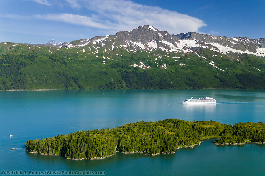 Alaska tourism photos: Aerial of the Coral Princess Cruise ship in College Fjord, Prince William Sound, Alaska (Patrick J. Endres / AlaskaPhotoGraphics.com)