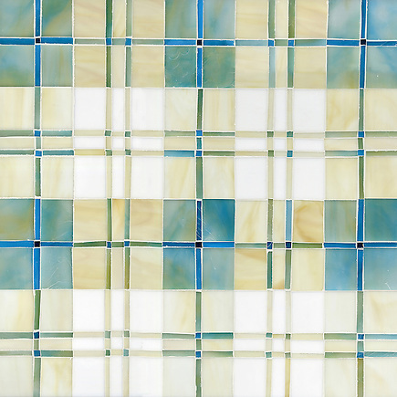 Hamish, a jewel glass mosaic shown in Aquamarine, Quartz, Moonstone, Marcasite, Agate and Chrysocolla, is part of the Plaids and Ginghams Collection by New Ravenna Mosaics. (New Ravenna Mosaics 2012)