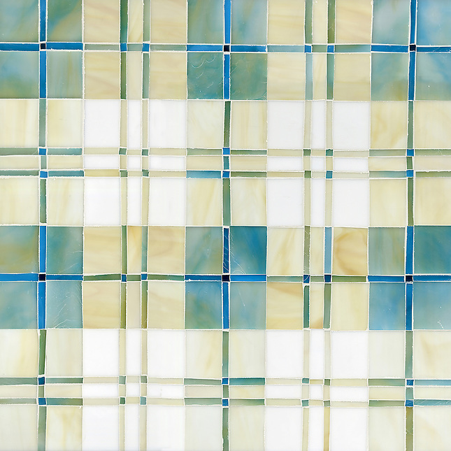 Hamish Jewel glass mosaic field shown in Aquamarine, Quartz, Moonstone, Marcasite, Agate and Chrysocolla. (New Ravenna Mosaics 2012)