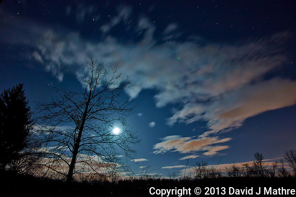 New Jersey Early Spring Night Sky with Moon and Clouds. Image taken with a Nikon 1 V2 and 6.7-13 mm lens (ISO 160, 6.7 mm, f/3.5, 20 sec). (David J Mathre)