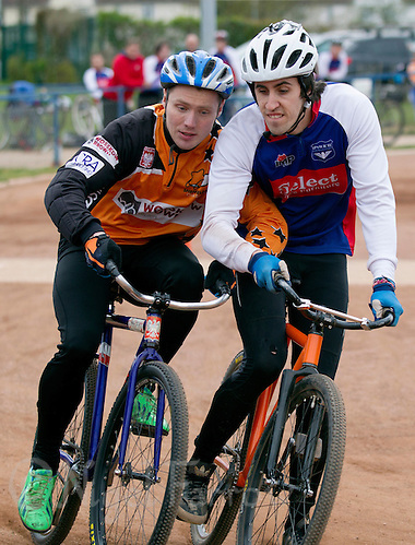 19 APR 2015 - IPSWICH, GBR - Josh Brooke (right) of Ipswich Eagles and Radek Handke (left) of Sheffield Stars battle for position at the start of a heat as they head to the first corner during the two teams Elite League cycle speedway fixture at Whitton Sports and Community Centre in Ipswich, Suffolk, Great Britain (PHOTO COPYRIGHT © 2015 NIGEL FARROW, ALL RIGHTS RESERVED) (NIGEL FARROW/COPYRIGHT © 2015 NIGEL FARROW : www.nigelfarrow.com)
