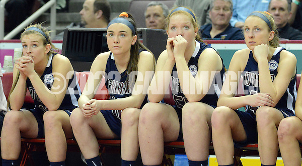 SOHARA19P From left, Cardinal O'Hara's Lauren Leicht, Bridgette Hoy, Kristen Denoncour and Maura Hendrixson sit on the bench in the last seconds of the fourth quarter as they lose to Cumberland Valley in the girls basketball PIAA Class AAAA state championship game Friday March 18, 2016 at the Giant Center in Hershey, Pennsylvania. Cumberland Valley defeated Cardinal O'Hara to win the PIAA Class AAAA state championship. (WILLIAM THOMAS CAIN/For The Inquirer) (William Thomas Cain/Cain Images)