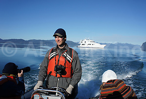 Skiff ride from yacht to icebergs
