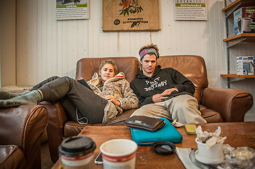 "Kelsey Nichols and Jack Kyle at the LL Bean Coffee Shop, ""Coffe by Design"" in Freeport, Maine.  ""I want to tell people's stories on public radio""  -Kelsey Nichols  jack.kyle3@gmail.com (© Clark James Mishler)"