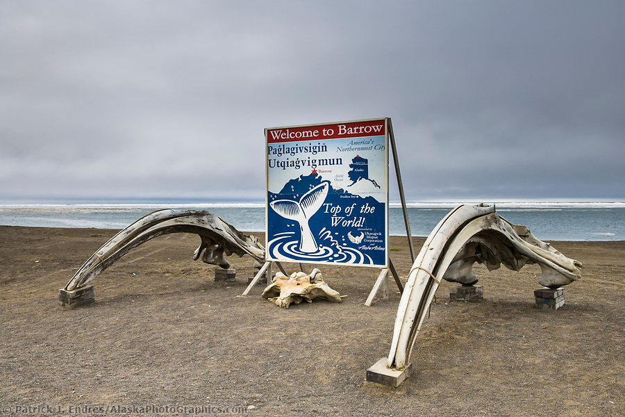 Welcome to Barrow, Alaska sign, Arctic ocean in the background. (Patrick J. Endres / AlaskaPhotoGraphics.com)