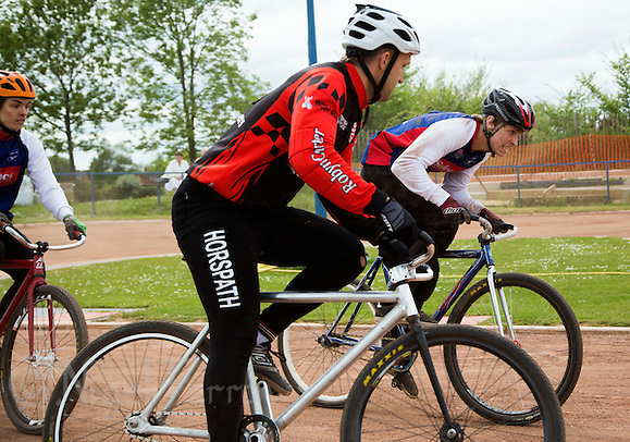 17 MAY 2015 - IPSWICH, GBR - Charlie Rumbold (right) of Ipswich Eagles races into the lead on the inside line during the Elite League fixture against Horspath Hammers at Whitton Sports and Community Centre in Ipswich, Suffolk, Great Britain (PHOTO COPYRIGHT © 2015 NIGEL FARROW, ALL RIGHTS RESERVED) (NIGEL FARROW/COPYRIGHT © 2015 NIGEL FARROW : www.nigelfarrow.com)