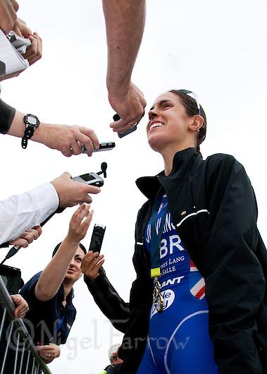 06 AUG 2011 - LONDON,GBR - Helen Jenkins (GBR) talks to the media after winning the women's round of triathlon's ITU World Championship Series (PHOTO (C) NIGEL FARROW) (NIGEL FARROW/(C) 2011 NIGEL FARROW)