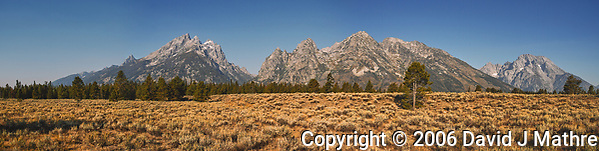 Grand Teton Panorama. Composite of three images taken with a Nikon D200 camera and 18-75 mm kit lens (ISO 100, 18 mm, f/5.6, 1/500 sec). Raw images processed with Capture One Pro and AutoPano Giga Pro. (David J Mathre)
