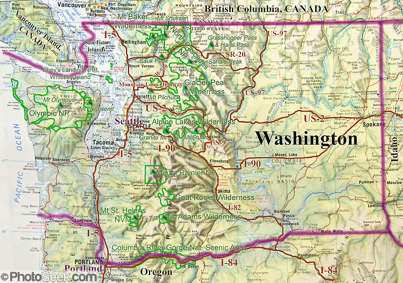 Washington map of major parks, cities, roads, geography. (Tom Dempsey)