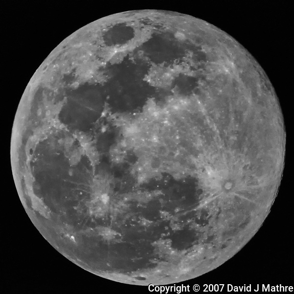 "Full Moon from a balcony a the Vinoy Hotel in St. Petersburg, Florida. Image taken with a Nikon D300 camera and Questar 3.5"" telescope (ISO 3200, ~1400 mm, f/16, 1/4000 sec). (David J Mathre)"