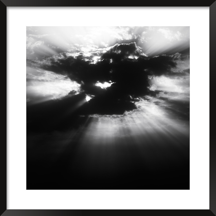 Sunset on a cloudy day, Ouarzazate, Morocco. Fine art black&white image. (Rosa Frei)