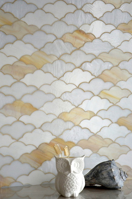 Clouds, a jewel glass mosaic in Opal, Agate, and Moonstone, is part of the Erin Adams Collection for New Ravenna Mosaics. (Sara Baldwin)