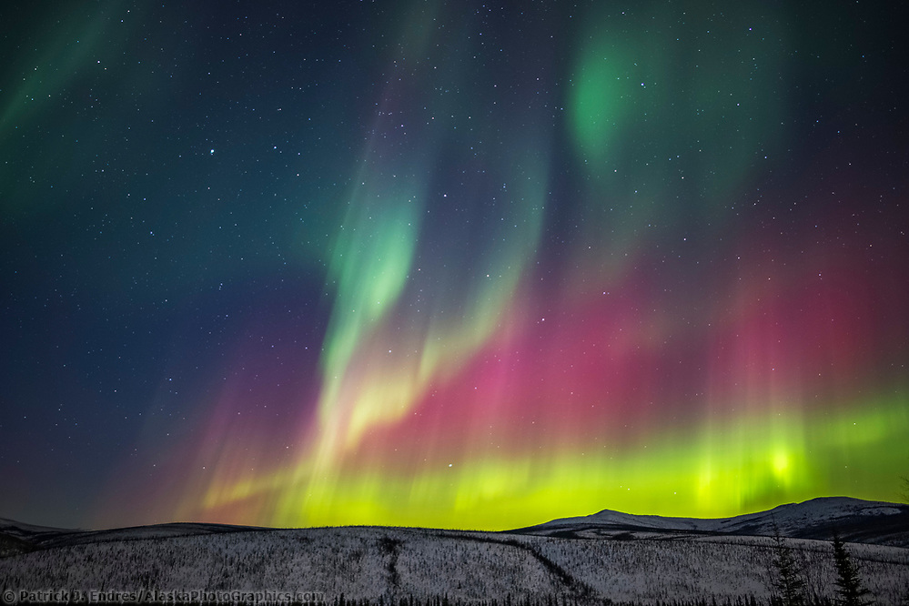 The colorful aurora arcs over the White Mountains National Recreation Area, Interior, Alaska. (Patrick J Endres / AlaskaPhotoGraphics.com)