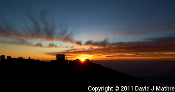 Sunset over Haleakala Satellite Tracking Station from Pu'U'Ula'Ula peak in Haleakala National Park, Maui Hawaii. Image taken with a Nikon D3x and 24 mm f/3.5 PC-E lens (ISO 100, f/16, 1/10 sec). Original image, no HDR (David J Mathre)