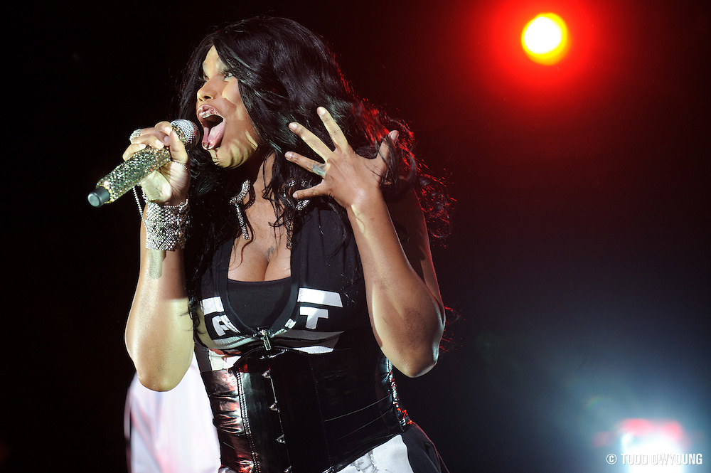 Salt 'n Pepa performing on the Legends of Hip Hop Tour at the Chaifetz Arena in St. Louis, Missouri on March 12, 2011. (Todd Owyoung)