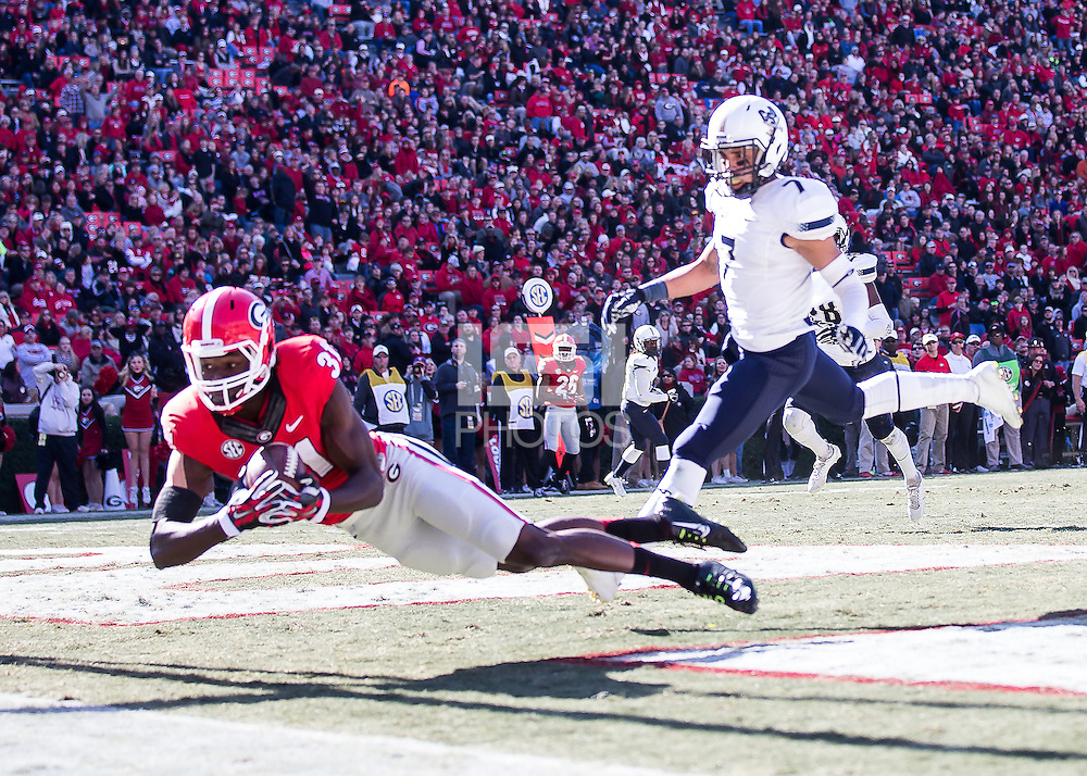 Athens, Georgia, November 22, 2014: The number 9 ranked Georgia Bulldogs beat the Charleston Southern Buccaneers 55-9 at Sanford Stadium. (Steven Limentani/isiphotos.com)