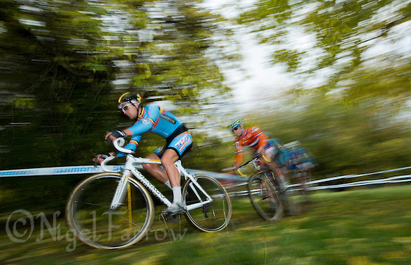 03 NOV 2012 - IPSWICH, GBR - Wietse Bosmans (BEL) (left) of Belgium leads Corne van Kessel (NED) (right) of the Netherlands during the Under 23 Men&#039;s European Cyclo-Cross Championships in Chantry Park, Ipswich, Suffolk, Great Britain .(PHOTO (C) 2012 NIGEL FARROW) (NIGEL FARROW/(C) 2012 NIGEL FARROW)