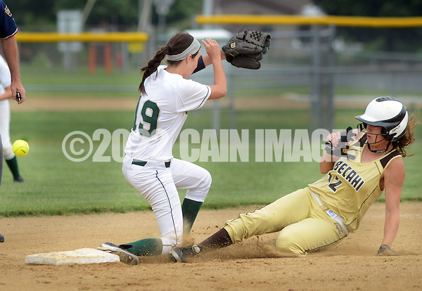 LYONS, PA - JUNE 09: Lansdale Catholic's second baseman Bridey Harkins (19) loses the ball as Bethlehem's Julia Madison (12) slides safely into second base in the first inning during the PIAA Class AAA softball semifinal June 9, 2014 Lyons, Pennsylvania. Bethlehem won 4-1. (Photo by William Thomas Cain/Cain Images) (William Thomas Cain)