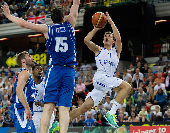 20 AUG 2014 - LONDON, GBR - Devon Van Oostrum (GBR) (right) from Great Britain shoots during the men's 2015 EuroBasket 3rd Qualifying Round game against Iceland at the Copper Box Arena in the Queen Elizabeth Olympic Park in Stratford, London, Great Britain (PHOTO COPYRIGHT © 2014 NIGEL FARROW, ALL RIGHTS RESERVED) (NIGEL FARROW/COPYRIGHT © 2014 NIGEL FARROW : www.nigelfarrow.com)