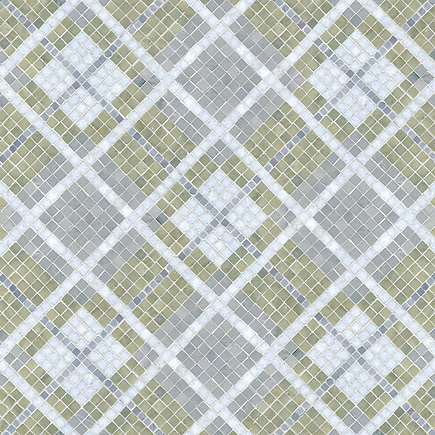 Plaid, a stone mosaic shown  in Bardiglio, Celeste, Verde Luna,and Kay's Green polished, is part of the Plaids and Ginghams Collection by New Ravenna Mosaics. (New Ravenna Mosaics 2012)
