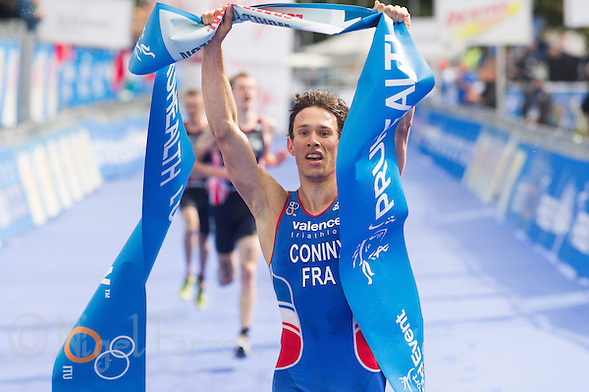 12 SEP 2013 - LONDON, GBR - Dorian Coninx (FRA) of France celebrates winning the junior men's ITU 2013 World Triathlon Championships in Hyde Park, London, Great Britain (PHOTO COPYRIGHT © 2013 NIGEL FARROW, ALL RIGHTS RESERVED) (NIGEL FARROW/COPYRIGHT © 2013 NIGEL FARROW : www.nigelfarrow.com)