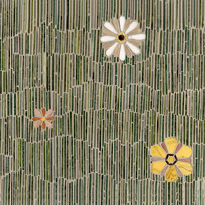 Name: Meadow Style: Metamorphosis Product Number: CB0611 Description: Meadow in Kay's Green, Spring Green, Verde Alpi, Chartreuse (t), Emperador Dark, Joanna, Blush, Rosa Noriega, Thassos, Rosa Portagallo (p) (New Ravenna Mosaics)