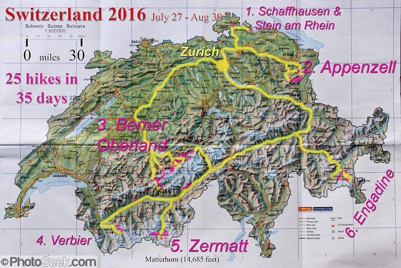 A geographic travel map of Switzerland shows a month itinerary starting from Zurich (doing 25 hikes in 35 days July 27-August 30) in Schaffhausen, Stein am Rhein, Appenzell, Berner Oberland, Valais canton (Fiesch, Verbier, Zermatt) and Engadine Valley, in Europe. (Tom Dempsey)