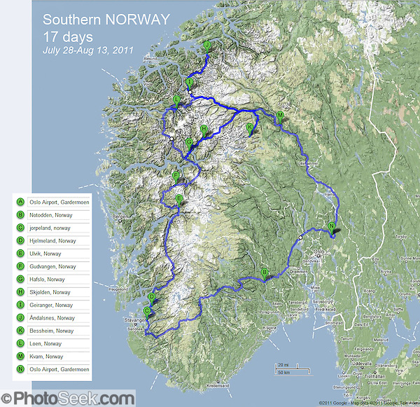 Southern Norway map of driving route over mountainous terrain and many tunnels from Oslo Gardermoen Airport (OSL) to Jorpeland (the Pulpit), Ulvik, Gudvangen, Hafslo, Skjolden, Geiranger, Andalsnes, Bessheim, Loen, Kvam, and back to OSL, Europe (from Google.com).
