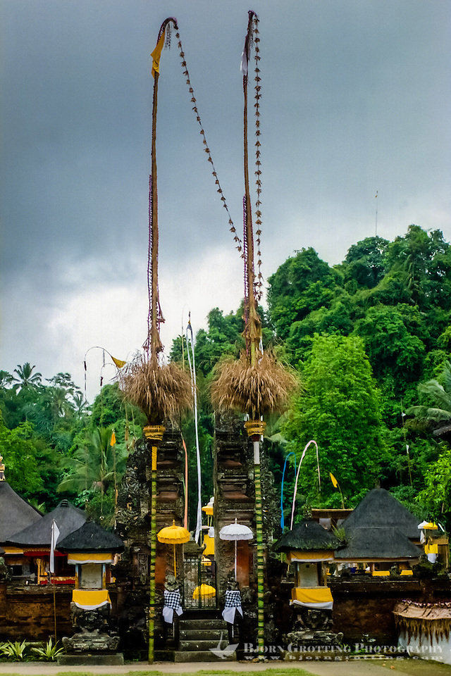 Bali, Gianyar, Tirtha Empul. Pura Tirtha Empul temple close to Tampaksiring. The decorations from a recently held ceremony is still in place. (Photo Bjorn Grotting)