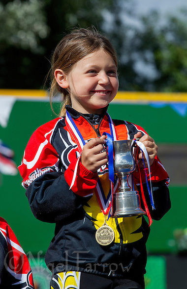 11 AUG 2013 - BIRMINGHAM, GBR - A proud competitor poses with her trophy after winning her race at the Federation of Inline Speed Skating 2013 British Outdoor Championships at Birmingham Wheels Park in Birmingham, West Midlands, Great Britain (PHOTO COPYRIGHT © 2013 NIGEL FARROW, ALL RIGHTS RESERVED) (NIGEL FARROW/COPYRIGHT © 2013 NIGEL FARROW : www.nigelfarrow.com)