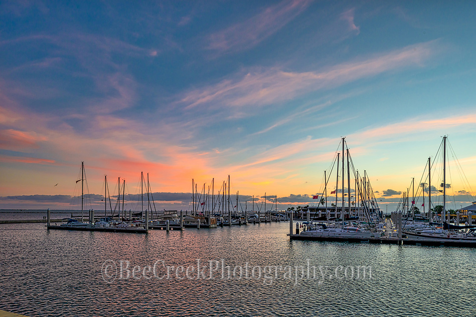 We captured this photo in the early morning right before the sunrise.  I loved the sky with the colors and all the sailboats just waiting for another day to venture out on the bay. (Tod Grubbs & Cynthia Hestand)