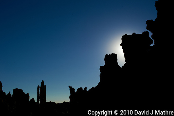 Silhouette of Mono Lake Tuffa's at Dawn. Image taken with a Nikon D3s camera and 50 mm f/1.4 lens (ISO 200, 50 mm, f/16, 1/1250 sec). (David J Mathre)