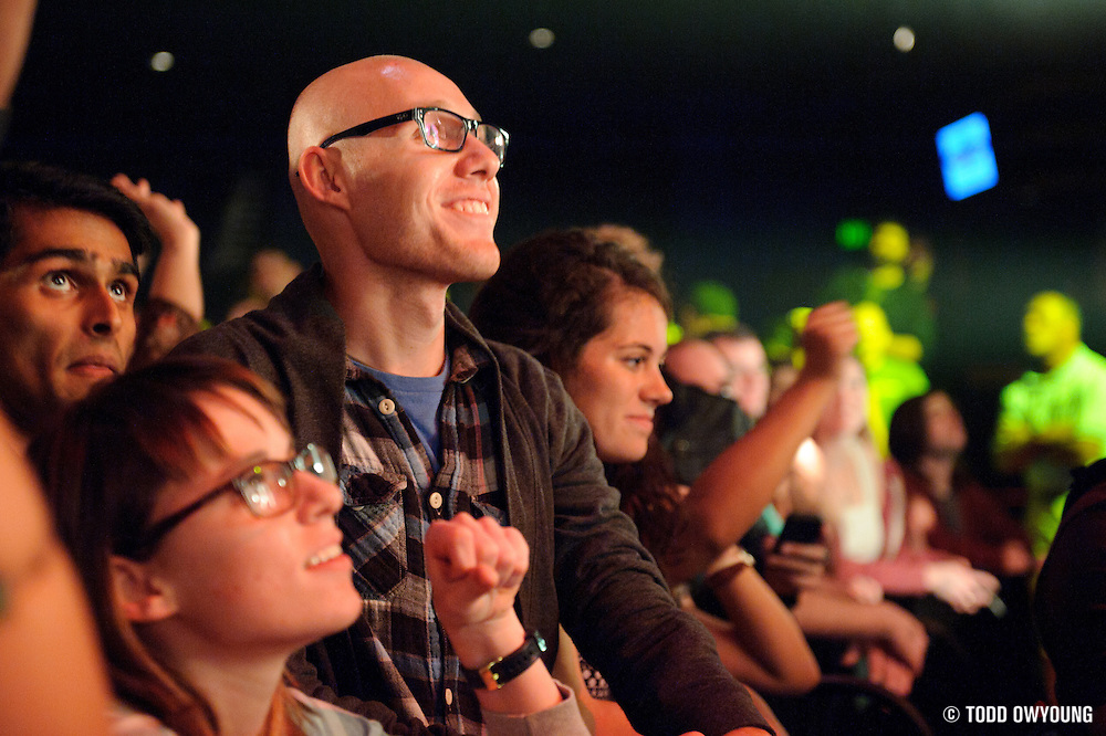 Fans during Chromeo's performance at the Pageant on October 24, 2011. (Todd Owyoung)